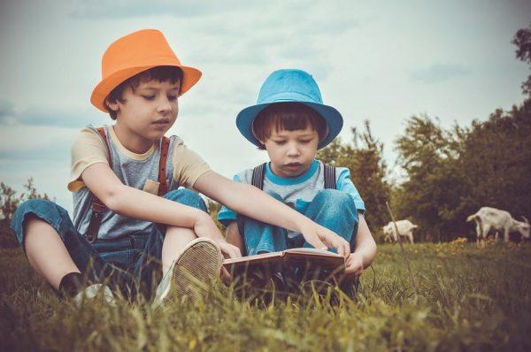 2人の少年と絵本